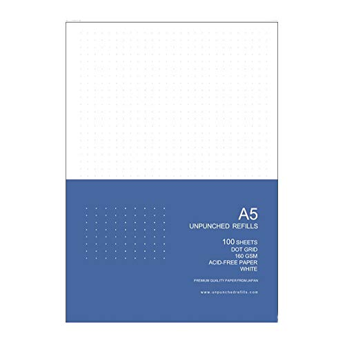 Unpunched Refills Loose Leaf Filler Paper, A5, Dot Grid, 160gsm, For Ring Binder Discbound Notebook Planner Inserts, White, 100 Sheets, 200 Pages