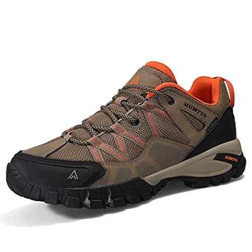huasa Zapatillas Impermeables de Senderismo Trekking Hombre,Botas de Montaña Antideslizantes Al Aire Libre Zapatos de Deporte,Transpirable Botas Montaña Mujer,38-Brown