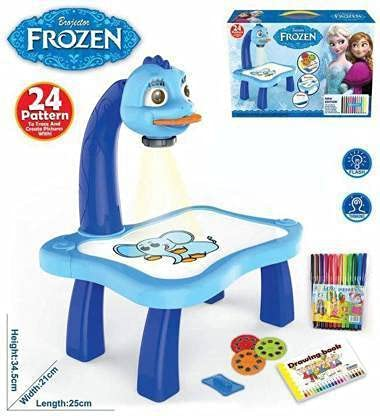 Zeena Frozen Theme 3 in 1 Kids Painting Drawing Activity kit Table (Blue)Projector Table (Blue)