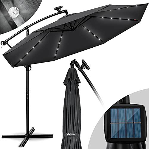 tillvex Alu Ampelschirm LED Solar Ø 300 cm mit Kurbel | Sonnenschirm mit An-/Ausschalter | Gartenschirm UV-Schutz Aluminium | Kurbelschirm mit Ständer Marktschirm wasserdicht (Anthrazit)