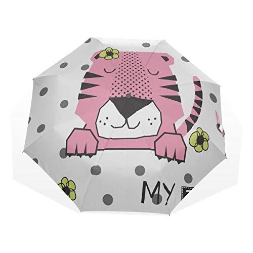 Parapluie Pliable pour Enfants Paresseux Petits Lapins Happy 3 Fold Art Parapluies (Impression extérieure Parasol de Plage Parasol Parasol Compact décoratif Parasol