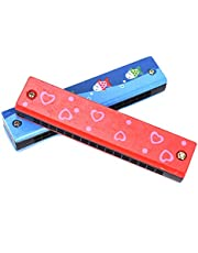 CrazyCrafts Wooden Harmonica Colorful Kids Musical Instruments Toys Children Cartoon Pattern Wood Mouth Organ Random Color and Design ( Set of 2 )