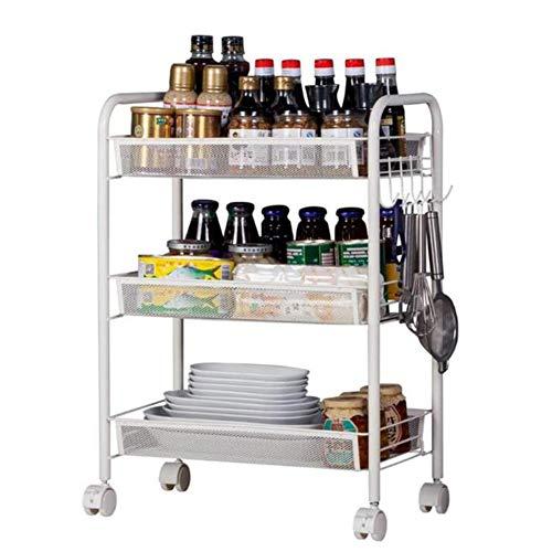 LIUNA Carrito de cocina enrollable de 3 niveles para servir o comer, estante de almacenamiento extraíble de acero inoxidable, carrito de almacenamiento de 3 niveles (color negro)