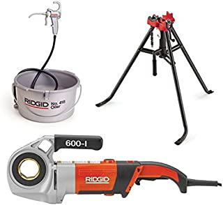 Ridgid 44918 600-I Power Drive, Die Heads, Case, and Support Arm Bundle w/ 16703 TRISTAND Portable Chain Pipe Vise and 10883 Hand Held Oiler (3 Items)