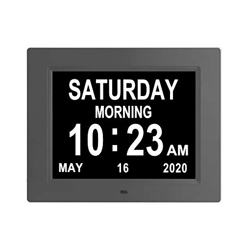 LaMi Products Digital Calendar Day Alarm Clock -8 Alarm Reminders,AM/PM Function,Alarm Clock with Extra Large Display Helps with Memory Loss, Alzheimer's and Dementia (8.4 inch,Black)