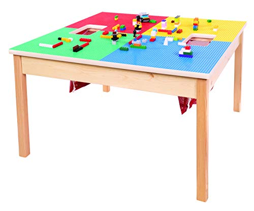 """Fun Builder Lego Table with Storage-Heavy Duty Series 32""""x32"""" Made in The USA! Solid Wood Legs and Frame-Preassembled-Built to Last! Ages 5 and UP"""