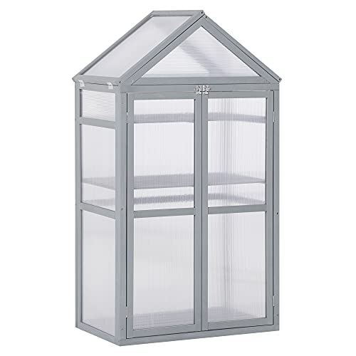 Outsunny 32' x 19' x 54' Garden Wood Cold Frame Greenhouse Flower Planter with Adjustable Shelves, Double Doors, Grey