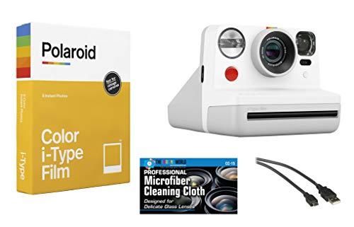 Polaroid Now Instant Film Camera (White) + Polaroid 4668 Film Bundle
