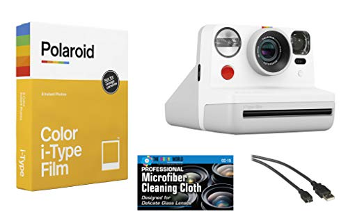 Polaroid Now Instant Film Camera (White) + Polaroid 4668 Film Bundle
