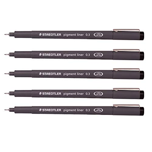 Staedtler 0.3 mm Pigment Liner Fineliner Sketching Drawing Drafting Pens Pack of 5