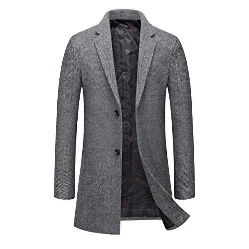 Męskie płaszcze wełniane w jodełkę wąskie dopasowanie wyściełany zimowy trencz płaszcz 2 guziki w kratę płaszcz