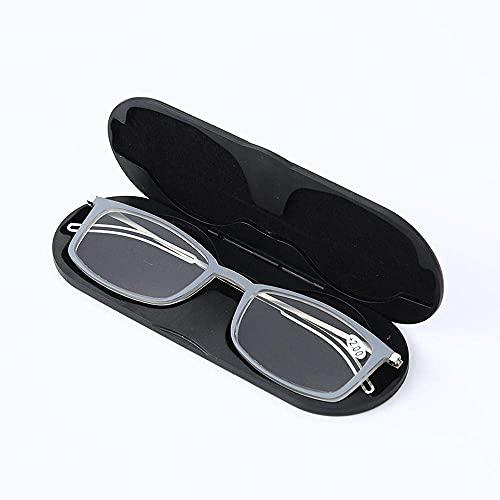 ZZAI Gafas de Lectura Luz Anti-Blue Light Ultra-Thin HD New Ultra-Light TR90 Square Frame Presbyopia Glasses -6 Diopters Brown- + 2.0 (Color : Gray, Size : +3.5)