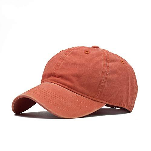 Gorra de béisbol Ligera de Color sólido de algodón Lavado para Padres e Hijos Gorra de béisbol con Costuras Masculinas para Adultos Lavada Naranja Ajustable