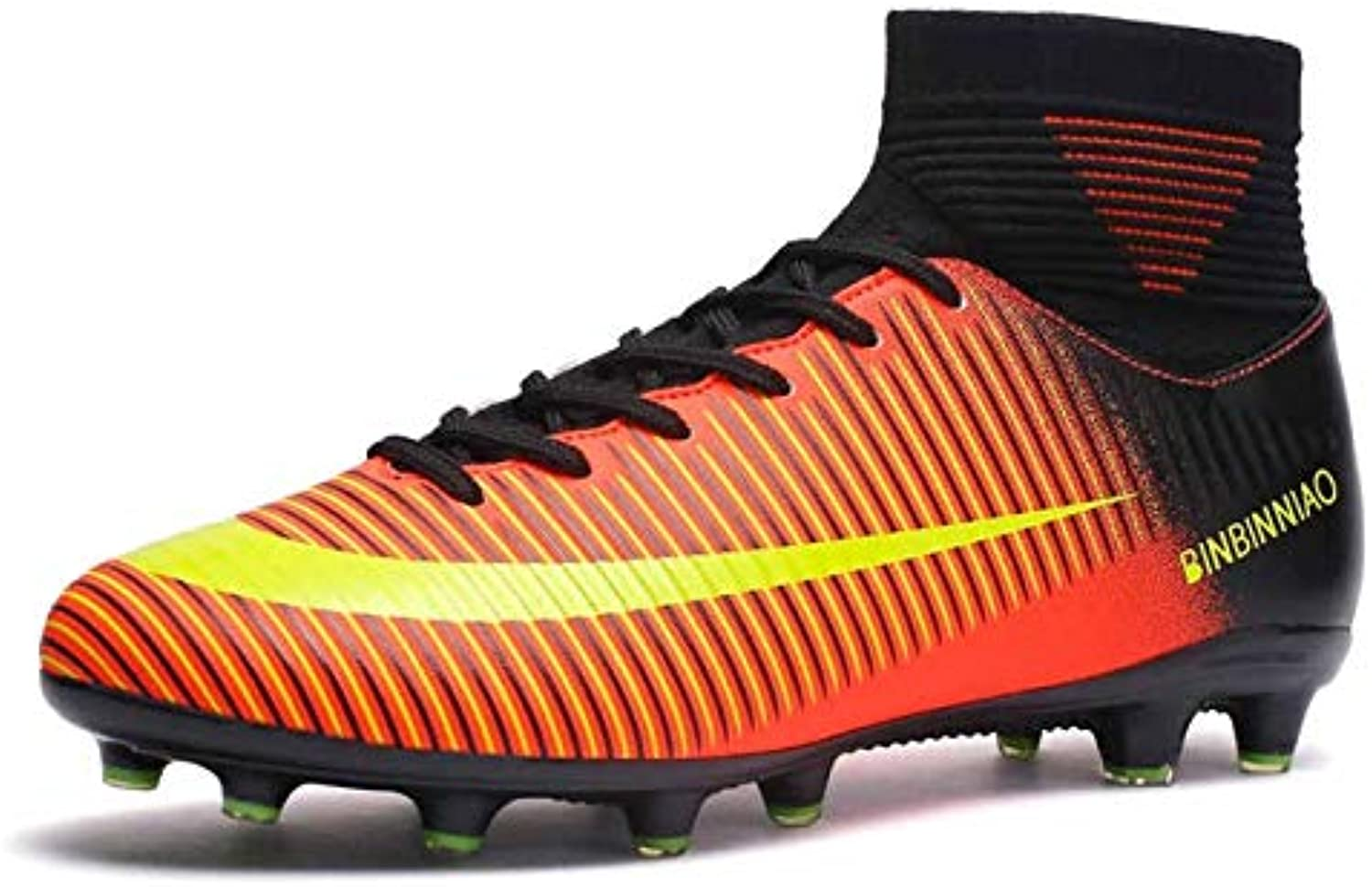 Soccer shoes High Top Non-slip Wearable and Comfortable Football Boots Soccer Cleats for Men, shoes Size 7(Long Spikes Black)