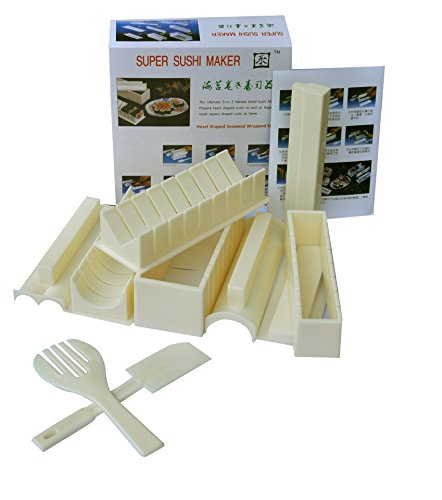 ARONTIME Sushi Maker Kit 10 PCS Moules à Sushi Cuisine Bricolage Facile Kit Convient aux débutants (White)