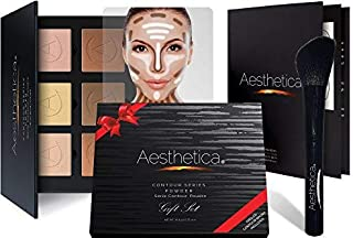 Aesthetica Cosmetics Contour and Highlighting Powder Foundation Palette/Contouring Makeup Kit Gift Set; Easy-to-Follow, St...