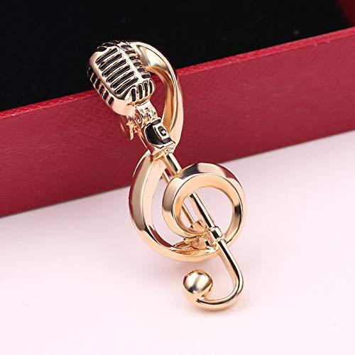 WWWL Broche de Mujer Oro Color micrófono música Nota Brooches Esamel Pin para Mujeres Hombres Cantante Fiesta Concierto Accesorios Regalo joyería