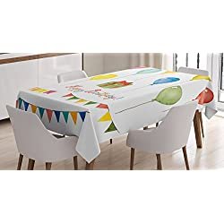 Ambesonne Birthday Decorations Tablecloth, Watercolor Set for Celebration Flags Surprise Box Balloons Happy Wish, Dining Room Kitchen Rectangular Table Cover, 60 X 84, Pastel Red