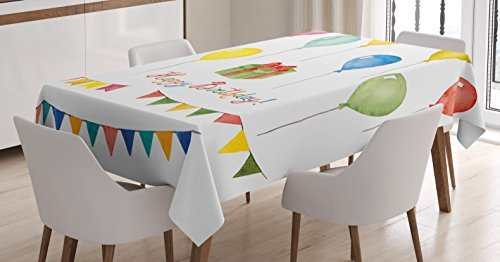 "Ambesonne Birthday Tablecloth, Watercolor Set for Celebration Flags Surprise Box Balloons and Happy Best Wishes, Rectangular Table Cover for Dining Room Kitchen Decor, 60"" X 90"", Pastel Red"
