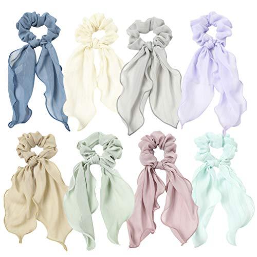 Pixnor 8 Pcs Chouchous en Mousseline de Soie Bowknot Cheveux Liens Longue Queue Chouchous pour Les Femmes (Couleurs Assorties)