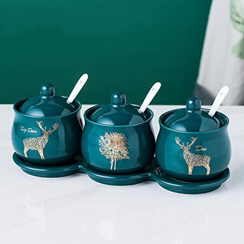 GewüRzgläSer 200 ML (6.8 OZ) Porzellan Menage Glas Gewürzbehälter mit Deckeln Keramik Vorlegelöffel & Fach Besten Keramik Menage Pot Storage Jar Set for Zuhause, Küche, Theke, Set von 4 GewüRzdosen