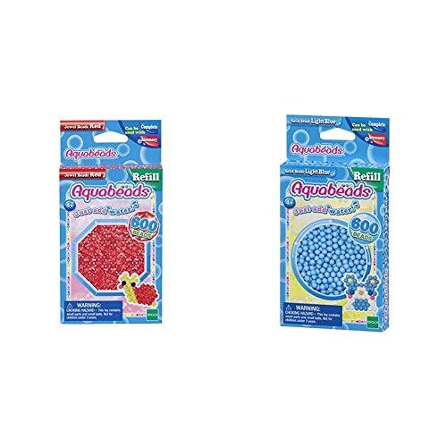 Aquabeads 32668 Glitzerperlen Bastelperlen nachfüllen rot & 32558 Perlen Bastelperlen nachfüllen hellblau
