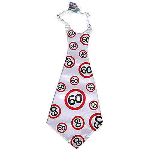 Krawatte zum 60. Geburtstag weiss/rot