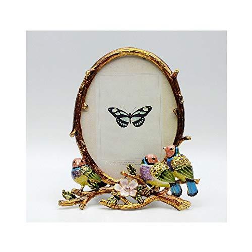 Allshiny Ornament. Dekorationen Ländliches mediterranes ländliches Fotorahmen Foto Stereo geschnitzt Vogel Vintage Metall Handgemachte Fotorahmen (Color : A, Size : 4.9 * 3.7in)