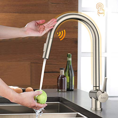Synlyn Touch Sensor Wasserhahn Küche Armatur Ausziehbar Küchenarmatur mit 2 Strahlarten Induktive Spültischarmatur aus 304 Edelstahl Mischbatterie Gebürsteter Schwenkbereich 360° Einhebelmischer
