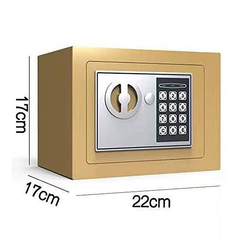 Digitale kluizen Staal Beveiliging Kluis met Digitaal Keypad voor Thuis Kantoor en Hotels Cash Sieraden Paspoort Geweren Sterk Staal 22x17x17cm Goud