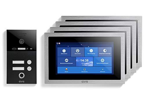 GVS IP Video Türsprechanlage mit 10 Zoll Monitor - Ideales Set für Zweifamilienhaus & Wohnung - IP65 Klingel-Türstation mit 120° HD-Kamera, App-Steuerung, RFID & Fingerprint - Modell AVS5299U