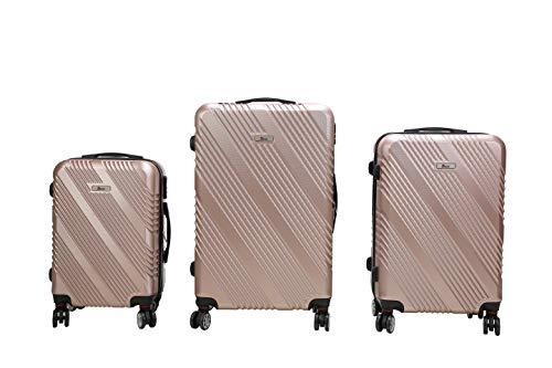 3 TEILIGES Kofferset IMEX Koffer Trolley HARTSCHALE ABS REISEKOFFER Set (Rosegold)