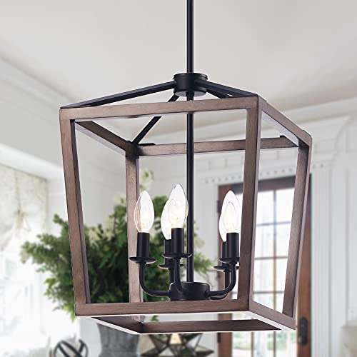 CO-Z 5-Light Rustic Lantern Chandelier Pendant Light Fixture, Farmhouse Pendant Lighting Adjustable Height with Square Oak Wood Cage, Metal Hanging Lights for Living Room, Dining Room, Kitchen Island