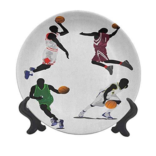 Plato decorativo de cerámica para colgar de 20,32 cm, diseño de jugadores de baloncesto, flotador, uniformes de colores vibrantes, deportivos, decoración de pared para el hogar y la oficina