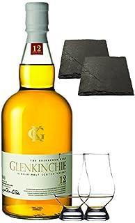 Glenkinchie 12 Jahre Single Malt Whisky 0,7 Liter  2 Glencairn Gläser  2 Schieferuntersetzer quadratisch ca. 9,5 cm