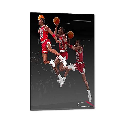 MJ Canvas Wall Art, Basketball Star Flying Man Slam Dunk Moment Canvas Print, God of Basketball Artwork for Room Decor, Home Bedroom Wall Decor, Men Boys Fans Gift Framed Artwork (12' Wx18 H)