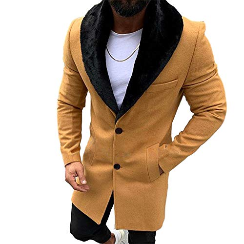 Lcucyes Mens Faux Fur Collar Jackets Winter Long Woolen Coat (Yellow,XX-Large)