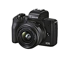 Canon EOS M50 Mark II (Black) + EF-M 15-45mm & EF-M 55-200mm is STM Bundle
