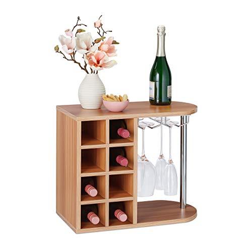 Relaxdays Botellero para 8 Botellas de Vino, Soporte Copas de Cristal, Tablero Aglomerado, 1 Ud, 42x52x28 cm, Marrón