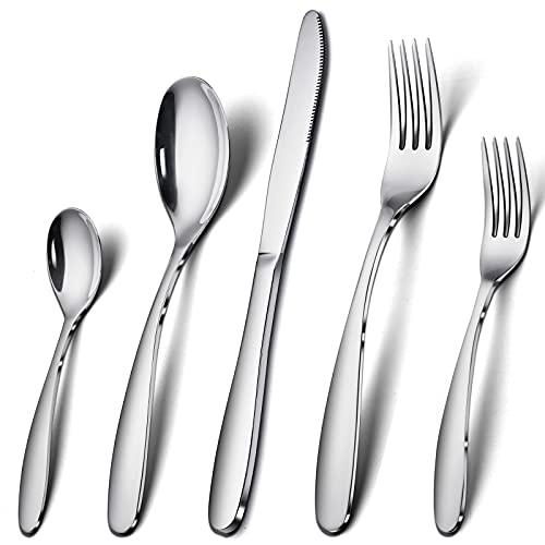 COPOTI Couverts INOX Haut de Gamme,Ménagère 20 Pièces Cuillère Fourchette Couteau Couverts Brillants Un Service 6 Personnes.
