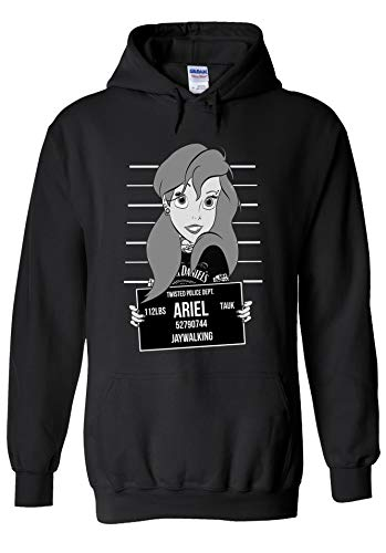 Disney Princess Ariel Jaywalking Mugshot Novelty Black Men Women Unisex Hooded Sweatshirt Hoodie-S