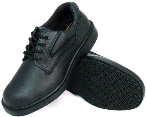 Genuine Grip Footwear Women's Slip-Resistant Blucher Lace Up Shoes,Black Leather,8 W US