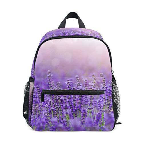 Small School Bag Violet Lavender Flower Mauve Backpack for Girl Boy Children Mini Travel Daypack Primary Preschool Student Bookbag