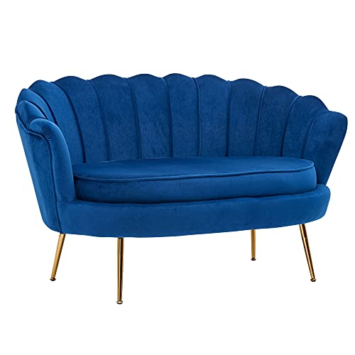 FineBuy Design 2-Sitzer Sofa Samt Blau 130 x 84 x 75 cm   Kleine Couch für Zwei Personen   Moderne Polstergarnitur Schmal mit goldenen Beinen