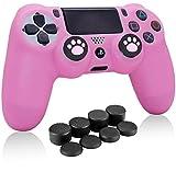 Rosa Fundas para Mando PS4, HLRAO Silicona Carcasa Protectora Antideslizante para Play 4/playstation 4( 1 × vistoso Personalizado cubierta de Mando PS4 + 10 × Grips para Pulgares PS4).
