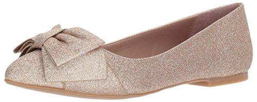 Betsey Johnson Women's Cindi Pointed Toe Flat, Champagne Glitter, 7 M US