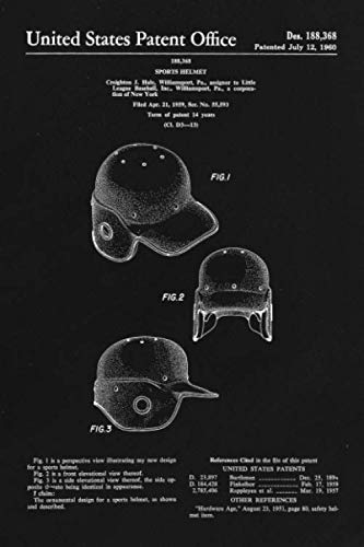 Journal: Baseball Helmet Patent Ruled Diary for Writing and Notes (6 x 9) 120 Pages, Soft Cover