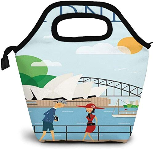 Australia Sydney Vintage Travel Poster Insulated Lunch Bag Custom Bento Box Picnic Cooler Portable Handbag Lunch Tote Bag for Women Girl Men Boy