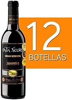 Lote de 12 Botellines Botellas Vino Pata Negra Valdepeñas Gran Reserva 375ml - Vinos Baratos para Detalles de Bodas