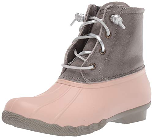 Sperry Womens Saltwater Leather Metallic Lace Boots, Grey/Rose Dust, 8